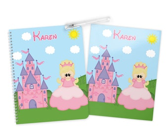 Princess Folder Notebook Set - Personalized School Folder - Personalized Notebook - Folder with Name - Back to School