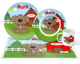 Dog House Red Plate Set - Personalized Kids Plate, Bowl, Mug & Placemat - Dog Plate Set - Kids Plastic Tableware - Microwave Safe