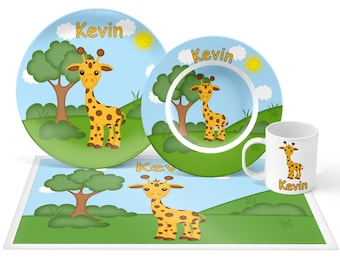 Giraffe Plate Set - Personalized Kids Plate, Bowl, Mug & Placemat - Giraffe Plate Set - Kids Plastic Tableware - Microwave Safe
