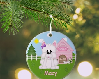 Dog House Pink Ornament - Personalized Dog Ornament, Dog Ornament, Kids Ornament, Christmas Tree Ornament