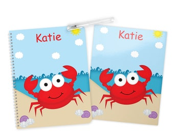 Crab Folder Notebook Set - Personalized School Folder - Personalized Notebook - Folder with Name - Back to School