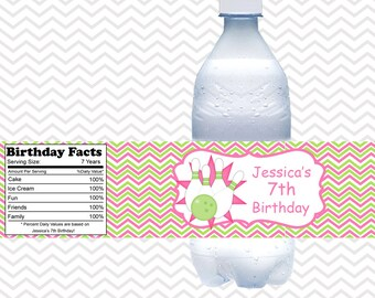 Bowling Pink - Personalized water bottle labels - Set of 5  Waterproof labels