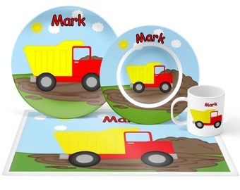 Dump Truck Plate Set - Personalized Kids Plate, Bowl, Mug & Placemat - Dump Truck Plate Set - Kids Plastic Tableware - Microwave Safe