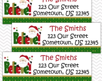 Christmas Believe - Personalized Address labels, Stickers