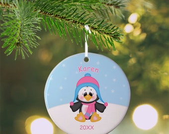 Christmas Penguin Girl Ornament - Personalized Penguin Ornament, Penguin Ornament, Kids Ornament, Christmas Tree Ornament