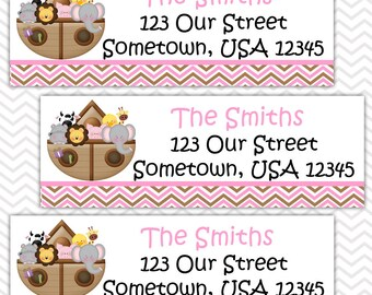 Noah's Ark Pink - Personalized Address labels, Stickers, Baby Shower, Birthday