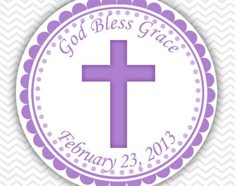 Cross Purple Baptism Christening First Holy Communion - Personalized Stickers, Party Favor Tags, Thank You Tags, Gift Tags