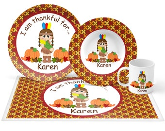 Indian Girl Plate Set - Personalized Kids Plate, Bowl, Mug & Placemat - Indian Plate Set - Kids Plastic Tableware - Microwave Safe