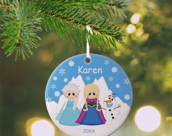 Princess Frozen Ornament - Personalized Princess Ornament, Princess Ornament, Kids Ornament, Christmas Tree Ornament