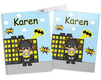 Batgirl Super Hero Folder Notebook Set - Personalized School Folder - Personalized Notebook - Folder with Name - Back to School