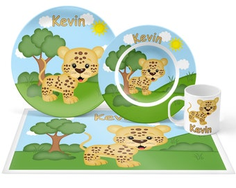 Cheetah Plate Set - Personalized Kids Plate, Bowl, Mug & Placemat - Cheetah Plate Set - Kids Plastic Tableware - Microwave Safe