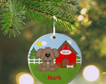 Dog House Red Ornament - Personalized Dog Ornament, Dog Ornament, Kids Ornament, Christmas Tree Ornament