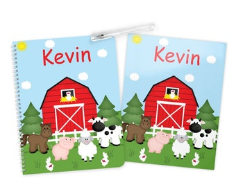 Barn Yard Red - Farm Animals Folder Notebook Set - Personalized School Folder - Personalized Notebook - Folder with Name - Back to School