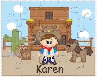Cowboy Personalized Puzzle, Personalized Cowboy Puzzle, Personalized Kids Puzzle