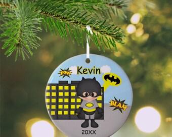 Batman Ornament - Personalized Batman Ornament, Super Hero Ornament, Kids Ornament, Christmas Tree Ornament