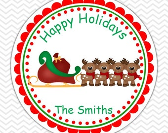 Christmas Santa Sleigh -  Personalized Stickers, Party Favor Tags, Thank You Tags, Gift Tags, Address labels, Birthday, Baby Shower