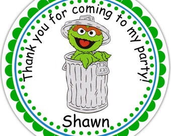 Oscar the Grouch Sesame Street- Personalized Stickers, Party Favor Tags, Thank You Tags, Gift Tags, Address labels, Birthday, Baby Shower