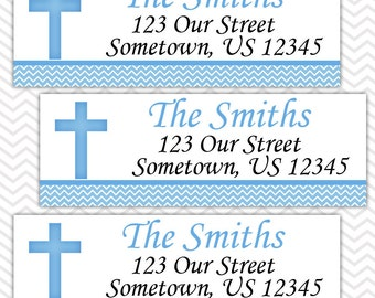 Cross Blue Baptism Christening First Holy Communion  - Personalized Address labels, Stickers