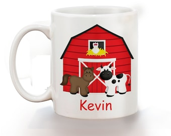 Barn Yard Red Personalized Kids Mug, Personalized Polymer Mug, Personalized Ceramic Mug, Custom Personalized Kids Mug