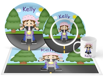 Motorcycle Girl Plate Set - Personalized Kids Plate, Bowl, Mug & Placemat - Motorcycle Plate Set - Kids Plastic Tableware - Microwave Safe