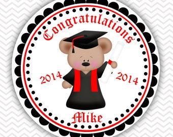 Graduation Bear - Personalized Stickers, Party Favor Tags, Thank You Tags, Gift Tags