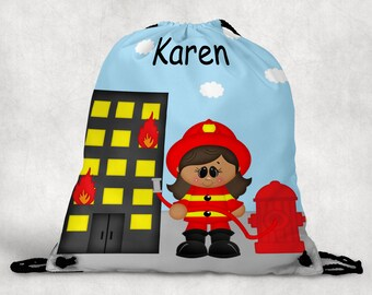 Fireman Girl Personalized Drawstring Backpack - Fireman Backpack - Fireman Sports Bag - Personalized Kids Drawstring Bag