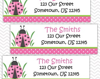 Ladybug Pink & Green - Personalized Address labels, Stickers