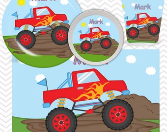 Monster Truck Plate, Bowl, Cup, Placemat - Personalized Monster Truck Dinnerware for Kids - Custom Tableware