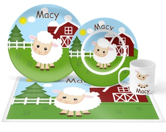 Sheep Plate Set - Personalized Kids Plate, Bowl, Mug & Placemat - Sheep Plate Set - Kids Plastic Tableware - Microwave Safe
