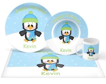 Penguin Boy Plate Set - Personalized Kids Plate, Bowl, Mug & Placemat - Penguin Plate Set - Kids Plastic Tableware - Microwave Safe