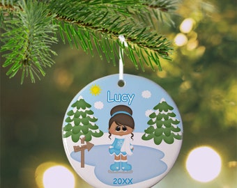 Ice Skating Girl Ornament - Personalized Ice Skate Ornament, Ice Skate Ornament, Kids Ornament, Christmas Tree Ornament