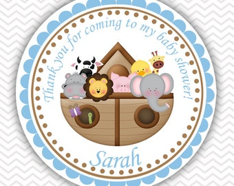Noah's Ark Blue - Personalized Stickers, Party Favor Tags, Thank You Tags, Gift Tags, Address labels, Birthday, Baby Shower