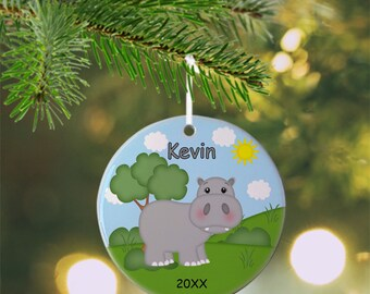 Hippo Ornament - Personalized Hippo Ornament, Hippo Ornament, Kids Ornament, Christmas Tree Ornament