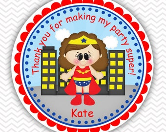 Wonder Women Super heros - Personalized Stickers, Party Favor Tags, Thank You Tags, Gift Tags, Address labels, Birthday, Baby Shower