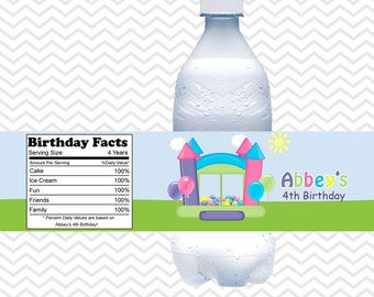 Bounce House Pastel Girl - Personalized Water bottle labels - Set of 5 Waterproof labels
