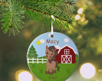 Horse Ornament - Personalized Horse Ornament, Horse Ornament, Kids Ornament, Christmas Tree Ornament