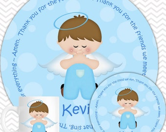 Kneeling Angel Blue Plate, Bowl Mug  Set - Personalized Plate Set - Customized Plate, Bowl, Mug - Melamine Plate, Bowl & Set for Kids