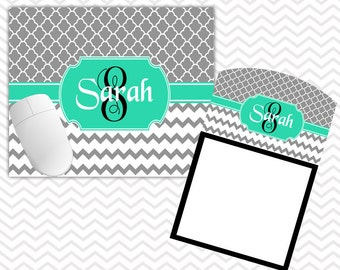 Personalized Office Decor Mouse Pad Sticky Note Holder Set Monogrammed Gifts Personalized Mousepad Custom Office Decor Coworker Gifts