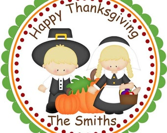Thanksgiving Pilgrams - Personalized Stickers, Party Favor Tags, Thank You Tags, Gift Tags