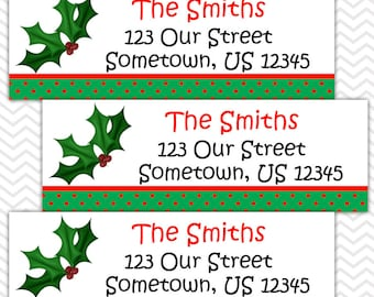 Christmas Holly - Personalized Address labels, Stickers