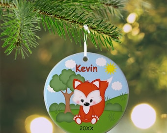 Fox Ornament - Personalized Fox Ornament, Fox Ornament, Kids Ornament, Christmas Tree Ornament