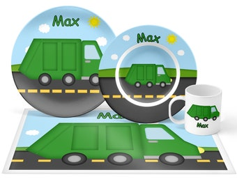 Garbage Truck Plate Set - Personalized Kids Plate, Bowl, Mug & Placemat - Trash Truck Plate Set - Kids Plastic Tableware - Microwave Safe