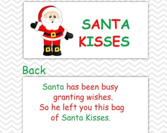 Christmas Santa Kisses - Personalized DIY Christmas Printable Bag Topper, Treat Topper, Food Tent