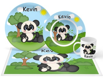 Panda Plate Set - Personalized Kids Plate, Bowl, Mug & Placemat - Panda Plate Set - Kids Plastic Tableware - Microwave Safe
