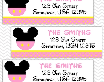 Baby Pink Mickey - Personalized Return Address labels, Envelope Seals, Stickers, Baby Shower, Birthday