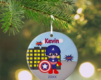 Captain America Ornament - Personalized Captain America Ornament, Super Hero Ornament, Kids Ornament, Christmas Tree Ornament