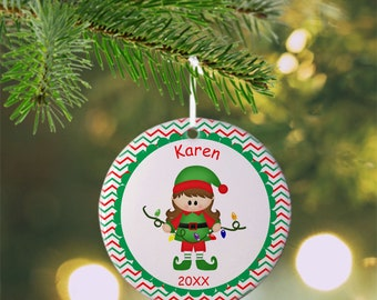 Christmas Elf Girl Ornament - Personalized Elf Ornament, Elf Ornament, Kids Ornament, Christmas Tree Ornament