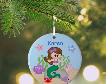 Princess Under the Sea Ornament - Personalized Princess Ornament, Princess Ornament, Kids Ornament, Christmas Tree Ornament