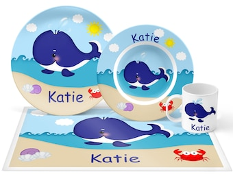 Whale Blue Plate Set - Personalized Kids Plate, Bowl, Mug & Placemat - Whale Plate Set - Kids Plastic Tableware - Microwave Safe