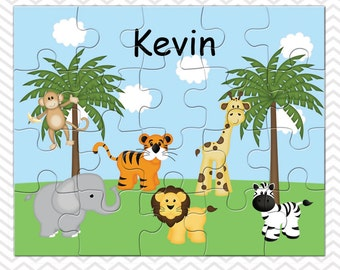 Jungle Personalized Puzzle, Personalized Jungle Puzzle, Personalized Kids Puzzle